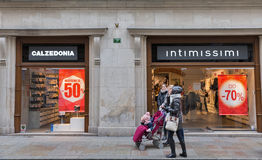Intimissimi Calzedonia store in Krakow Old Town, Poland. Royalty Free Stock Photography