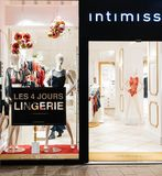 Intimissimi Lingeria brand show-window at night stock images