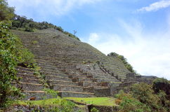 The Intipata ruins on the Inca Trail. The impressive terraces of the Intipata ruins on the Inca Trail Royalty Free Stock Photography