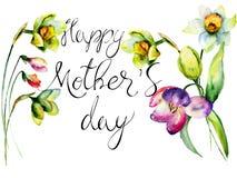 Intitule o dia de mães feliz com as flores da tulipa e do narciso Fotografia de Stock