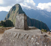Intiwatana Stone at Machu Picchu. Intiwatana stone, carved from the point's natural peak, marks the highest point in the urban district of Machu Picchu Stock Photos
