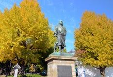 东京11月22日:在上野公园inTokyo, J的Saigo鹰森雕象 库存图片