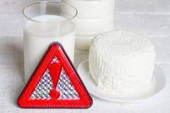Intolleranza al lattosio con il prodotto lattiero-caseario del latte ed il concetto del segnale di pericolo Fotografia Stock Libera da Diritti