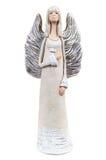Intonachi la statua di un angelo su fondo bianco Fotografia Stock