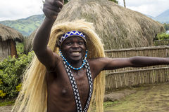 Intore dancer - Rwanda. MUSANZE, RWANDA -Tribal Dancer of the Batwa Tribe Perform Traditional Intore Dance to Celebrate the Birth of an Endangered Mountain Royalty Free Stock Photo