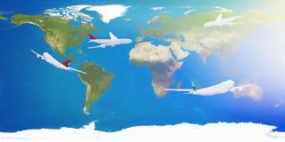 Intorno al mondo terra 3d-illustration degli aeroplani Elementi della t Illustrazione di Stock