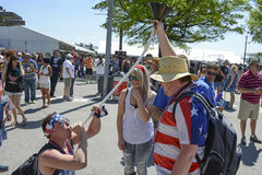 Intoxicated race fans. Fans at 2014 Indianapolis 500 Motor Race event indulge in some extreme measures of partaking in liquid refreshments on May 24, 2014 Royalty Free Stock Photo