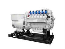 Intoxiquez le générateur électrique diesel de piston d'isolement sur le fond blanc images stock