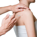Intra-articular injection. Stock Photos