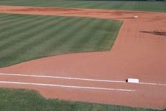 Intra-champ de terrain de base-ball d'abord et seconde base images libres de droits