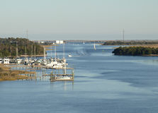 Intra coastal waterway. View of the boats along the intracoastal waterway from the Oak Osland Bridge Royalty Free Stock Image