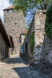 Intramural Tyrol Castle entrance to place and tower. Tirol Village, Province Bolzano, South Tyrol, Italy stock photo