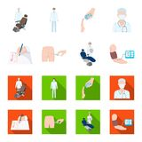 Intramuscular injection, prescription, Dentist, blood pressure measurement. Medicineset collection icons in cartoon,flat. Style vector symbol stock illustration Stock Photos