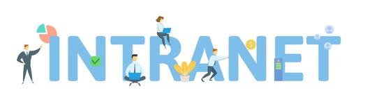 intranet Conceito com povos, letras e ?cones Ilustra??o lisa do vetor Isolado no fundo branco ilustração stock