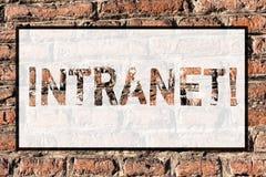 Intranet do texto da escrita da palavra O conceito do negócio para a rede privada de uma empresa ligou a parede de tijolo das red ilustração do vetor