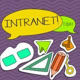 Intranet do texto da escrita da palavra O conceito do negócio para a rede privada de uma empresa ligou a placa das redes locais d ilustração royalty free