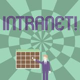 Intranet do texto da escrita da palavra O conceito do negócio para a rede privada de uma empresa ligou redes locais ilustração royalty free