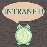 Intranet do texto da escrita da palavra O conceito do negócio para a rede privada de uma empresa ligou redes locais arredonda-se ilustração stock