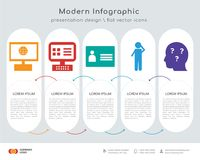 Intranet infographics design. Infographics design  and intranet, on, personal details, scratching head, curiosity icons can be used for workflow layout, diagram Stock Photography