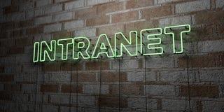 INTRANET - Sinal de néon de incandescência na parede da alvenaria - 3D rendeu a ilustração conservada em estoque livre dos direit ilustração royalty free
