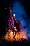 Intrattenimento del danzatore del fuoco Immagini Stock