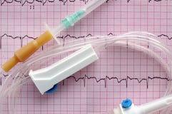 Intraveneus systeem op oppervlakte van elektrocardiogram Royalty-vrije Stock Foto