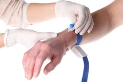 Intravenous cannula in patient's hand Royalty Free Stock Images
