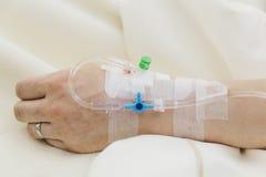 Intravenous drip. Woman`s arm on intravenous drip Stock Photography