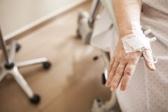 Intravenous line on the hospital royalty free stock images