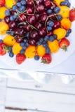 Intrecciatura con la fragola, il mirtillo, la ciliegia e l'albicocca fotografia stock libera da diritti