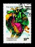 Intrecciature di racconto mille, donna ed uccello del mostro, serie piega di racconti, fotografia stock