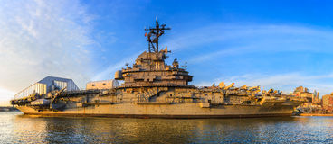 Intrepid aircraft carrier museum at sunset, New York city Royalty Free Stock Photography