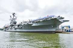 Intrepid Sea, Air & Space Museum at Hudson shore in New York City Royalty Free Stock Photo