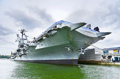 Intrepid Sea, Air & Space Museum at Hudson shore in New York City Royalty Free Stock Images