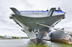 Intrepid Sea, Air & Space Museum at Hudson shore in New York City Stock Photo