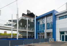 Intrepid sea, air and space museum. NEW YORK CITY - MAY 1, 2016: Entrance of the Intrepid museum in Manhattan. New York City's Intrepid Sea, Air & Space Museum Stock Photography