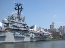 The Intrepid Sea, Air & Space Museum, New York City, USA. View of the Intrepid Sea, Air & Space Museum from the Hudson River looking towards the west side of Stock Image