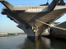 Intrepid Warship moored in New York. Currently a Sea air and space museum. Intrepid was a originally a military aircraft carrier. She was commissioned and served Royalty Free Stock Images