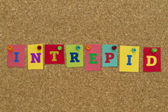 Intrepid word written on colorful sticky notes. Intrepid  word written on colorful sticky notes pinned on cork board Stock Images