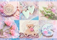Intressant collage med stack beståndsdelar, blommaordningar, hjärtor och rosor Kan använda för tryck på räkningen, inpackningspap fotografering för bildbyråer