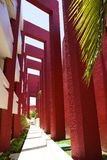 Intressant design i hotell i Cancun, Mexico Arkivbild