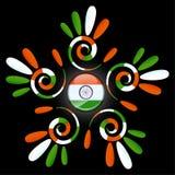 Intressant illustration av den indiska tricolor flaggahandmodellen i en cirkel royaltyfri illustrationer