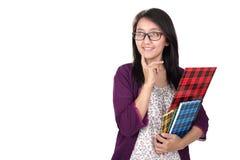 Intressant kvinnlig student Arkivfoto