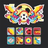 intressant sportar för bollsammansättningssymbol Royaltyfri Foto