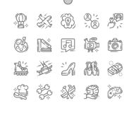 Intresse Brunn-tillverkad linje raster 2x för symboler 30 för perfekt vektor för PIXEL tunn för rengöringsdukdiagram och Apps vektor illustrationer