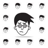 intresse på framsidasymbolen Detaljerad uppsättning av ansikts- sinnesrörelsesymboler Högvärdig grafisk design En av samlingssymb stock illustrationer