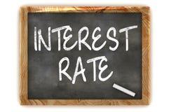 Intresse Rate Blackboard Arkivfoto