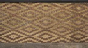 Intressera den modell fodrade tegelstenväggen royaltyfri fotografi