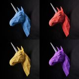 Intresting collage of four unicorns. Intresting collage of four parts with diffeerents colorful unicorns. Heads of the horses are yellow,red, violet and blue stock photo