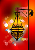 Intricate arabic lamp with blurred lights Royalty Free Stock Photo